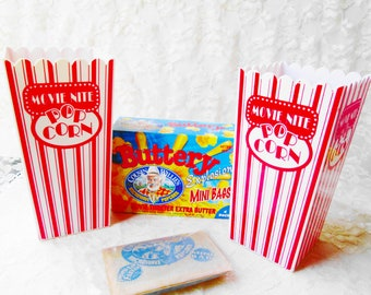 Movie Nite Popcorn Box Container Set 2 Vintage Plastic Red & White Striped Circus Style Home Kitchen Party Decor Supply or Photo Prop Decor