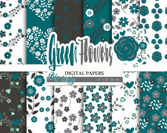 80% OFF SALE! Green Floral digital paper pack, Scrapbook Paper,green patterns, floral background, flower digital paper, shabby Digital paper