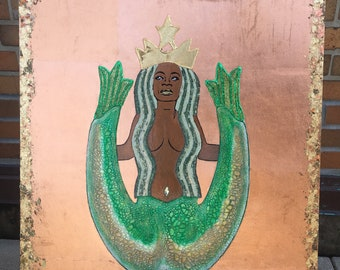 Our Lady Of The Coffee (Oprah As Starbucks Siren)  Unique Original Collage Artwork Edition 2 of 4