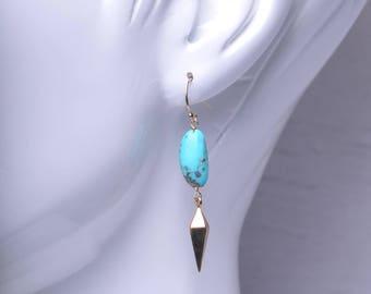 Sleeping Beauty Turquoise Bronze Spike Short Dangle Earrings II