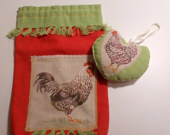Pouch and heart for country kitchen