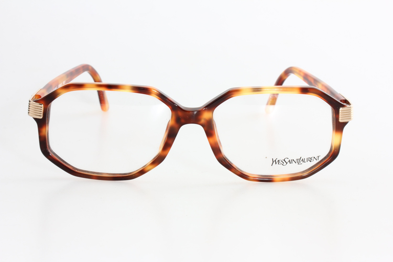 Yves Saint Laurent 5015 80s square eyeglasses demi amber