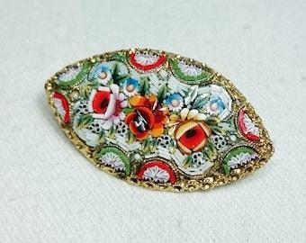 Detailed Victorian Era Micro Mosaic Brooch Pin, Italy, Grand Tour Souvenir