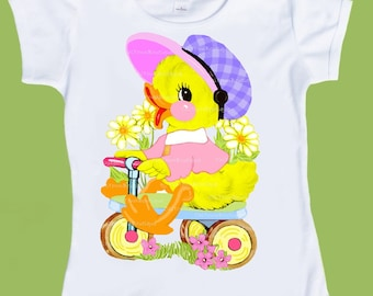 Baby Duck,Girls Easter shirt, Pastel colors, Duckling T-Shirt, Bike Chick, Chick on Trike, infants, toddlers shirts by ChiTownBoutique