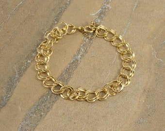 12k Gold Filled Doubled Curb Link Fancy Round Chain Bracelet 7""