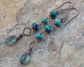 Moss AQUAMARINE and TURQUOISE earrings, Sterling silver, long blue gemstone earrings, handmade, artisan jewelry