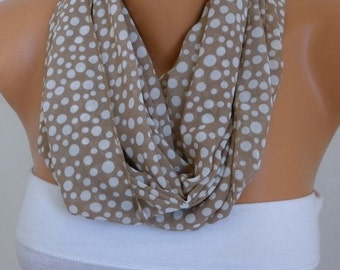 Milky Brown Polka Dot Infinity Scarf  Chiffon Circle  Loop Scarf Gift Ideas for her Women's Fashion Accessories