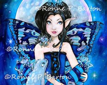 Moon Frogs cute cartoon gothic fairy big eye fine art LE art trading card aceo atc PRINT