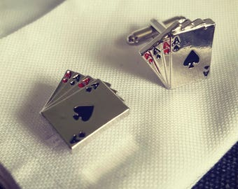 Gambling cufflinks men's silver plated pewter cufflinks 5 card stud Ace of Spades poker cufflinks