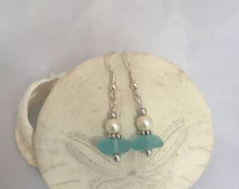 Aqua Sea Glass Earrings, sea glass jewelry, beach glass jewelry, sea glass earrings,