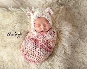 Snuggle Sack, Swaddle Sack, Cuddle Sack,Newborn Photo prop, Baby Girl, Pink bear hat, newborn bonnet, Newborn girl prop set, prop sets, girl