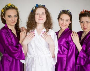 Solid Purple Satin Silk Bridesmaids robes | Kimono Style getting ready robes wedding day wedding favors Bridesmaids gift Bridesmaid Robes