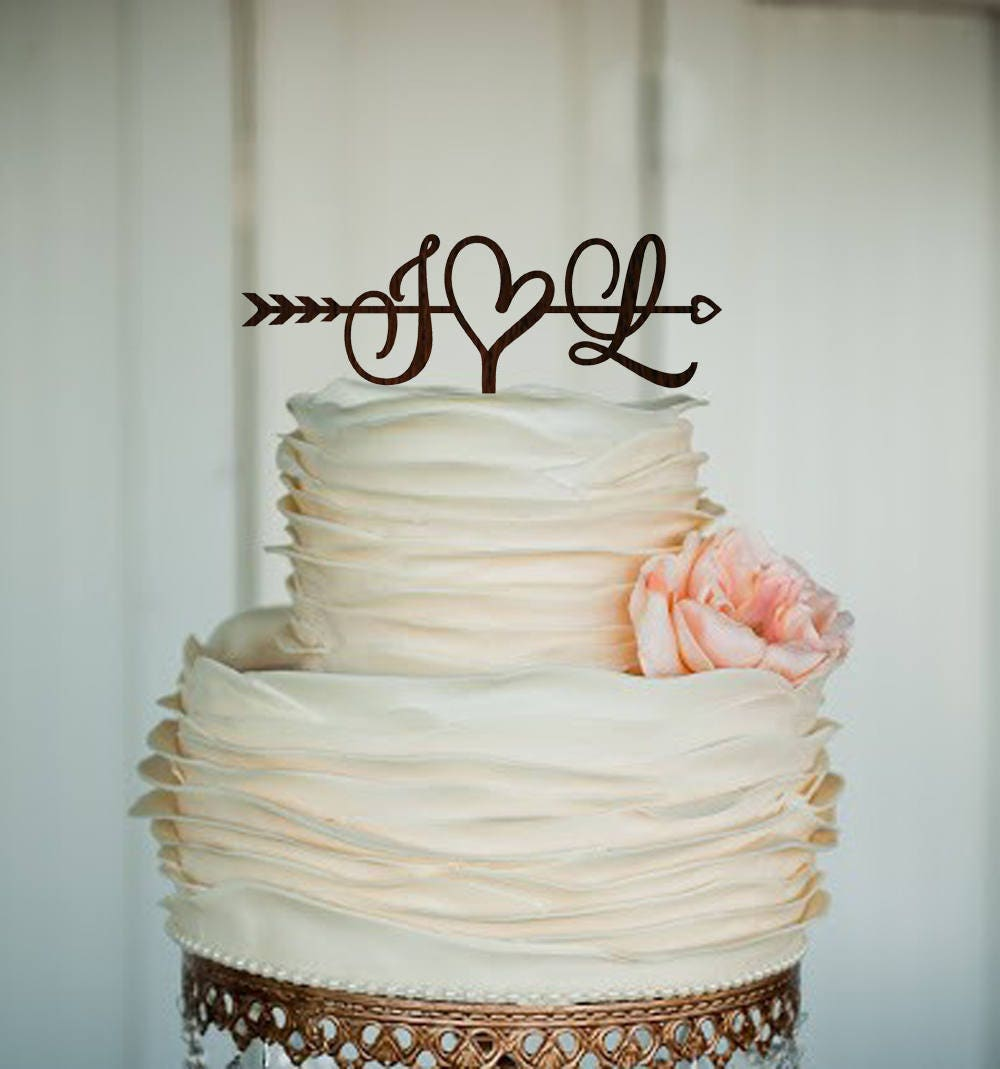 Make Your Own Wedding Topper: Initials Cake Topper Wedding Arrow Cake Topper Rustic Cake