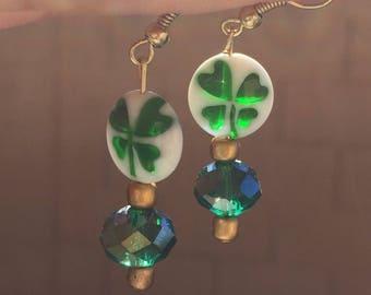 Handmade St Patricks Day Shamrock Glass Bead Dangle Earrings