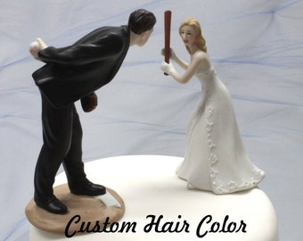 Wedding Cake Topper - Personalized Wedding Couple - Baseball Wedding Cake Topper - Cake Topper - Baseball - Pitching Groom - Home Run Bride