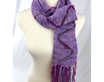 HANDSPUN HIGHLIGHT SCARF Kit, Sparkly Handdyed Tonal Yarn, Handspun Mini Skein, Gift for Knitter, Knitting Pattern Kit, Cable Pattern