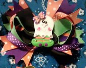 Halloween ghoul bow, cutest ghoul around, Halloween girls hairbow