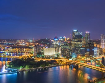 Classic Pittsburgh skyline at night - Various Prints