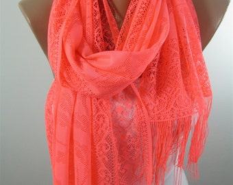 Mothers Day Gift For Her Tulle Scarf Neon Pink Scarf Shawl Wedding Wrap Bridesmaids Gift Spring Summer Fall Scarf Mom Fashion Accessories