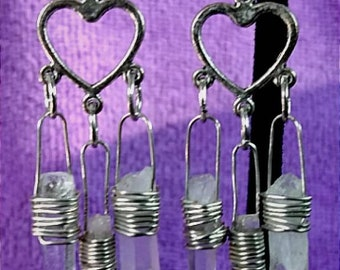 Quartz Earrings Crystal Earrings Chandelier Earrings Dangle Earrings Drop Earrings Wire Wrapped Earrings Healing Earrings Handmade Earrings