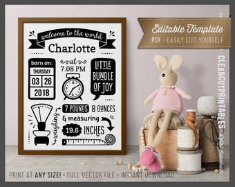 BIRTH STATS printable wall art template editable pdf birth announcement - print sign poster wall art large size black white instant download