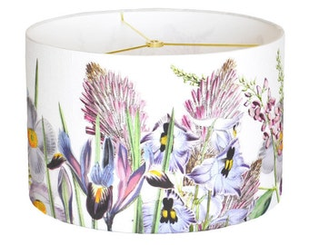 SMALL Linen Violet Garden Party Lamp Shade - Botanical Lampshade - 7 8 9 Inch Drum Lamp Shade - Custom Made to Order Linen Lamp Shade