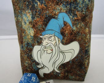 Angry Wizard Dice Bag, pouch, Role Playing, RPG, Tabletop game, D&D , Dungeon and Dragon, polyhedral dice, drawstring bag