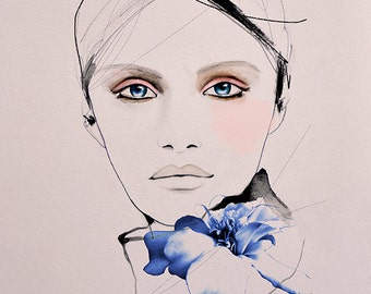 Sky Wolf  - Fashion Illustration Art Print ,Portrait, Mixed Media Painting by Leigh Viner