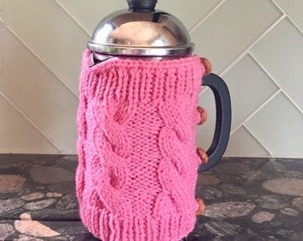 French press cable knit cozy coffee press sweater