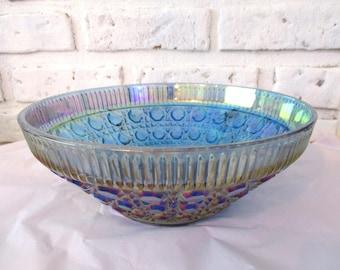 Vintage Indiana Carnival Glass Bowl Iridescent Blue Windsor Bowl Salad Serving Fruit Bowl Dish