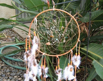 Wild Turkey Dreamcatcher,Native American inspired large Apricot leather and wild turkey feathers purple beads