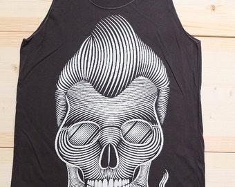 Biker Skull Greaser Rocker Fashion Goth T-Shirt Vest Tank Top