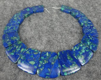 Full Strand Blue Imperial Jasper, Sea Sediment Jasper Faceted Unique Stone Pendant Beads, Flat Slab Nugget Freeform Top Drilled Loose Beads