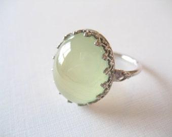 Prehnite Gemstone Cabochon Ring Sterling Silver - Fancy Bezel