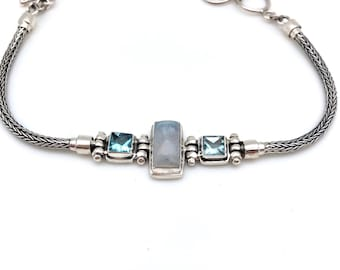 Sterling Silver Bali Bracelet with Moonstone and Blue Topaz