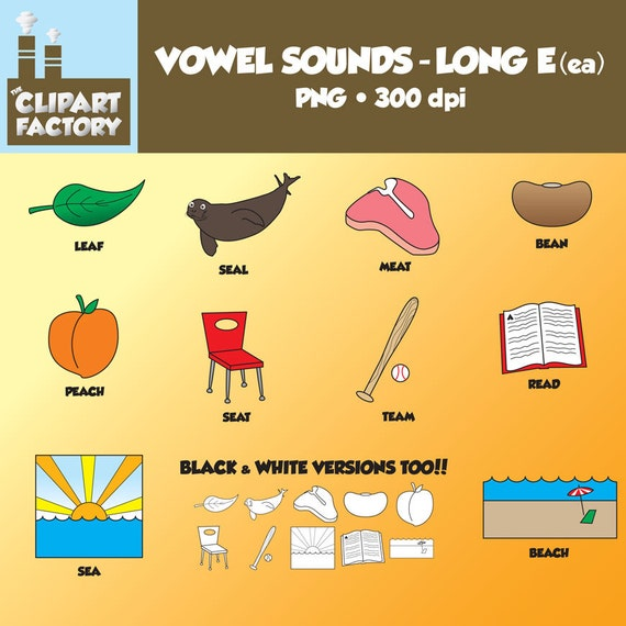 Clip Art: Vowel Sounds Long EeaImages For Words With Long E