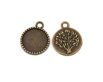 10 Bronze TREE OF LIFE Charm Pendants, Cabochon Bezel Tray, fits 14mm round cabs, chb0356