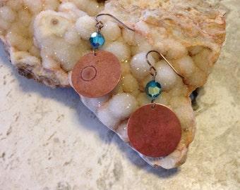 Artistic Copper and Swarovski Earrings