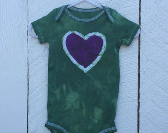 Baby Girl Gift, Baby Girl Bodysuit, Baby Shower Gift, Green Baby Girl Gift, Green Heart Bodysuit, Purple Heart Bodysuit (6-9 months)