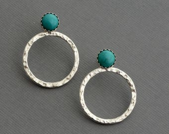 Turquoise ear jackets, small turquoise studs, sterling silver hoop earrings double sided front back earrings southwestern mix match earrings