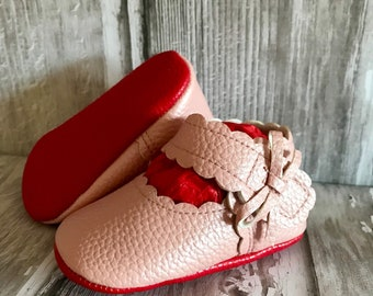 Pearl Pink Red Sole Baby, Red Bottom Mary Jane Baby Pram Shoes - Like Mummy's Louboutins but Designer Inspired! Louboutin Baby!
