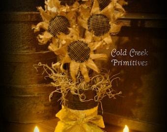 Primitive Sunflower Bouquet inside a Rusty Tin Can