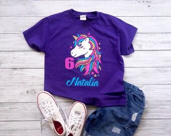 Girls unicorn birthday shirt, 6th birthday shirt, personalized unicorn shirt,