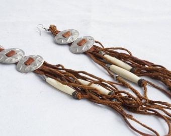 Long Brown Leather Fringe Tassel Bolo Tie Western Cowgirl Statement Earrings