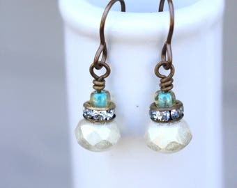 Elegant white and aqua earrings, White stacked rhinestone earrings, Modern Vintage earrings, Cream and aqua earrings