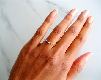 Raw Sapphire Gemstone Stack Ring in 14k Gold Fill, gold chain ring, delicate chain ring, raw crystal ring, birthstone rings, dainty rings