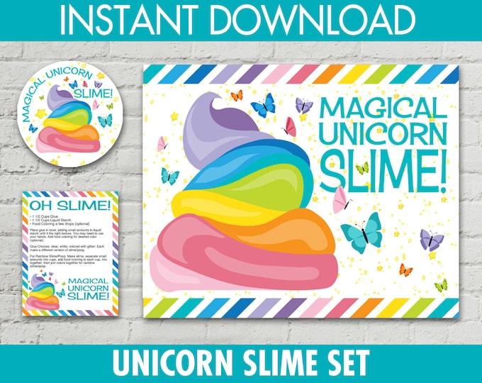 "Unicorn Slime Set - 2.5"" Jar Labels, 8.5""x10"" Sign, Editable Slime Recipe Cards, Unicorn Slime Set, Poo   INSTANT Download PDF - Printables"