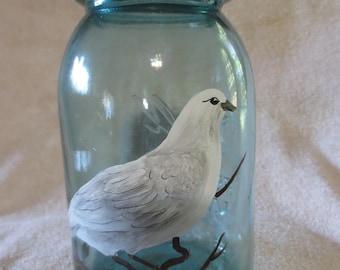 Refurbished Vintage Quart Jar Dove