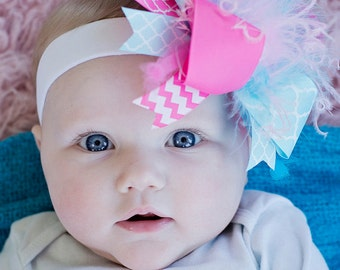 boutique hot PINK and AQUA over the top hair bow complete on headband or clip