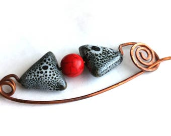 Hammered Copper Shawl Pin with Ceramic and Stone Beads